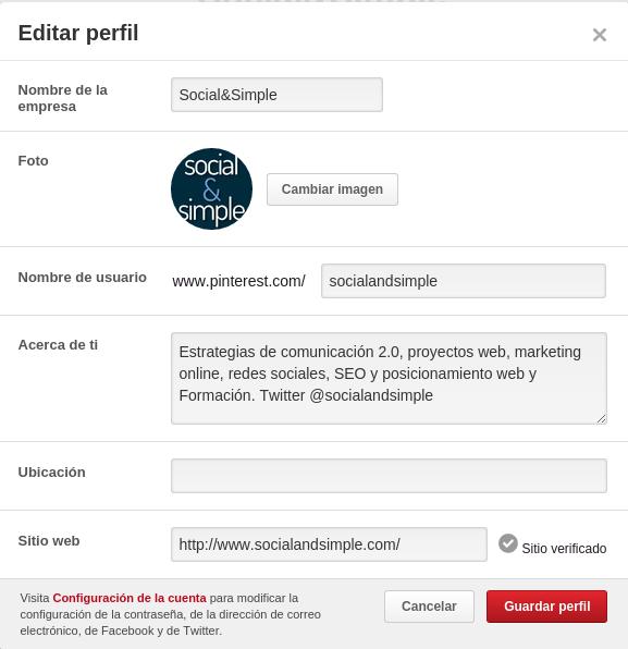 crear perfil Pinterest